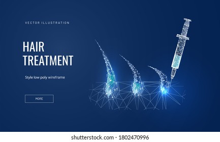 Hair treatment concept in polygonal futuristic style for banner. Vector illustration of the process of a medical or salon procedure mesotherapy or prp for hair growth. Hair bulbs with syringe on blue