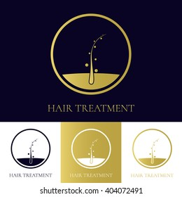 Hair treatment and transplant logo template with follicle receiving nourishment. Medical diagnostics sign in 4 variations. Health and beauty concept. Vector illustration.