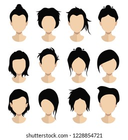 hair, vector hairstyle in puppet