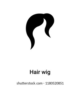 Hair wig icon vector isolated on white background, logo concept of Hair wig sign on transparent background, filled black symbol