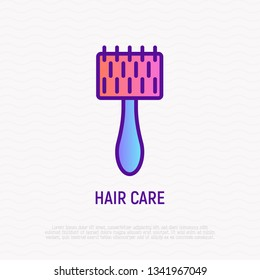 Hairbrush for dog thin line icon. Pet accessory. Modern vector illustration for pet shop.