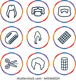 Haircut icons set. set of 9 haircut outline icons such as comb, woman hairstyle, hair curler, man hairstyle