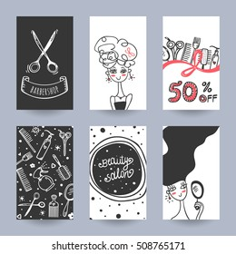 Hairdress beauty salon and barber shop poster and flyer set vector template illustration