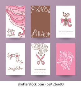 Hairdress beauty salon poster and flyer set vector template illustration
