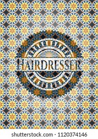 Hairdresser arabesque style emblem. arabic decoration.