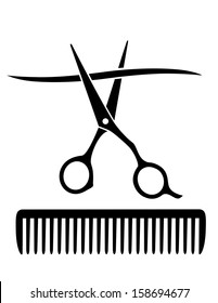 hairdresser comb and scissors cutting strand of hair on white background
