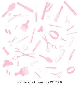 Hairdresser equipment pattern. Pink images, white background