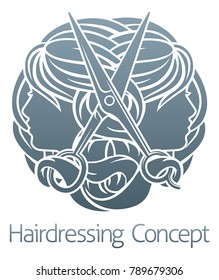 Hairdresser hair salon stylist concept with womens faces and scissors