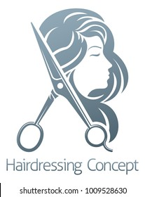 A hairdresser hair salon woman scissors sign symbol concept