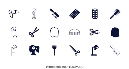 Hairdresser icon. collection of 18 hairdresser filled and outline icons such as barber brush, salon hair dryer, hair curler. editable hairdresser icons for web and mobile.