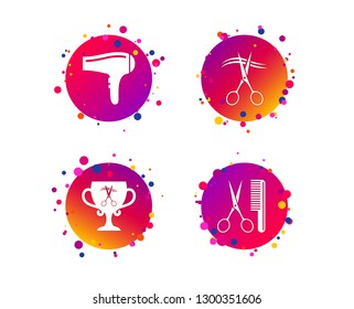 Hairdresser icons. Scissors cut hair symbol. Comb hair with hairdryer symbol. Barbershop winner award cup. Gradient circle buttons with icons. Random dots design. Vector
