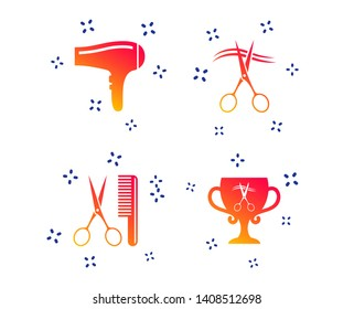 Hairdresser icons. Scissors cut hair symbol. Comb hair with hairdryer symbol. Barbershop winner award cup. Random dynamic shapes. Gradient hairdryer icon. Vector