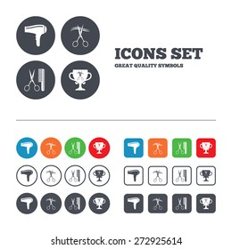 Hairdresser icons. Scissors cut hair symbol. Comb hair with hairdryer symbol. Barbershop winner award cup. Web buttons set. Circles and squares templates. Vector
