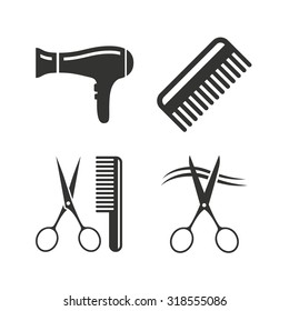 Hairdresser icons. Scissors cut hair symbol. Comb hair with hairdryer sign. Flat icons on white. Vector