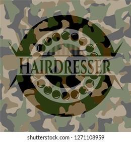 Hairdresser on camo pattern