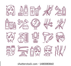 Hairdresser service line icons set. Professional hair styling. Beauty industry. Pictograms for web page, mobile app, promo. UI/UX/GUI design element. Editable stroke.