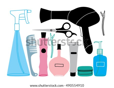 Hairdresser Tools Beauty Salon Items Vector Stock Vector Royalty