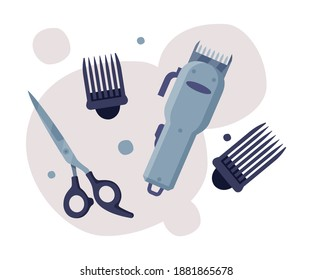 Hairdresser Tools Set, Barber Supplies for Styling Professional Haircut, Hair Clipper, Scissors Cartoon Vector Illustration