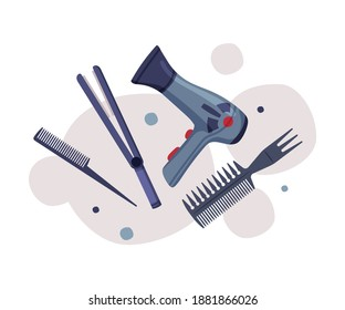 Hairdresser Tools Set, Barber Supplies for Styling Professional Haircut, Hair Dryer, Comb, Curling Iron Cartoon Vector Illustration