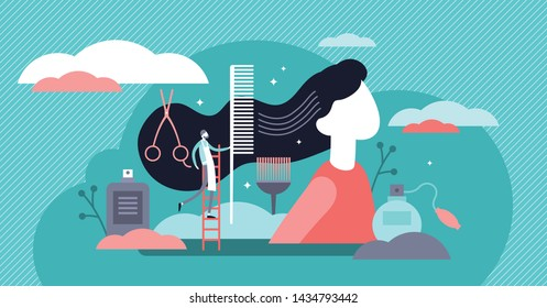 Hairdresser vector illustration. Flat tiny hair cut occupation person concept. Fashion saloon work with models. Professional service job equipment for beautiful style. Abstract retro or vintage banner