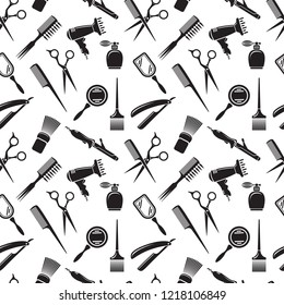 Hairdresser vector seamless pattern, barbershop beauty background of isolated element. Salon and barber collection on white backdrop.