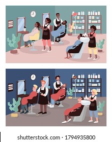 Hairdressers flat color vector illustration set. Beauty salons. Hairdressing. Customers at hair salon and barbershop 2D cartoon characters with furniture on background collection