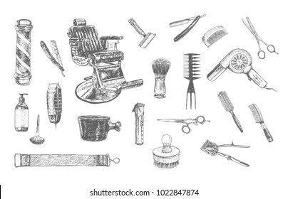 Hairdressers professional tools and accessories. Barber Stylist big set. Vector barber shop vintage collection. Hand drawn doodle retro Illustration in ancient engraving style