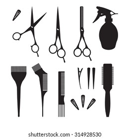 Hairdressers professional tools. Barber stylist tools set. Black and white icons for hairdressing saloon. Comb, coloring brush, bowl, clip, shears, thinning scissors, sprayer silhouettes