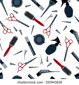 Hairdressers professional tools pattern. Barber stylist tools set. Flat icons for hairdressing saloon