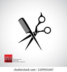 Hairdressers scissors with comb black isolated vector icon. Hairdresser, fashion salon and barber sign 
