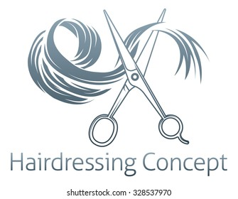 Hairdressing Conceptual icon of a pair of scissors cutting a lock of hair