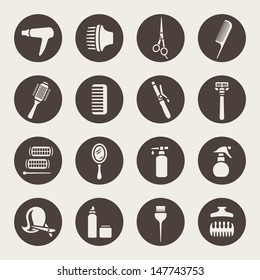 Hairdressing equipment icons