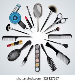 Hairdressing and makeup equipment isolated on white. Vector illustration