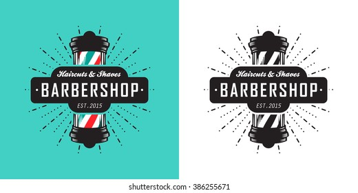 Hairdressing Saloon Icon With Barber Pole