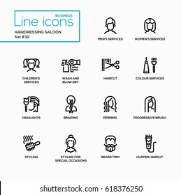 Hairdressing Saloon - modern vector single line icons set. Men, women, children, wash, blow dry, haircut, colour, highlight, braiding, perming, styling, special occasions, beard trim, clipper