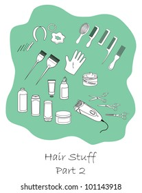 Hairdressing stuff outline set part two