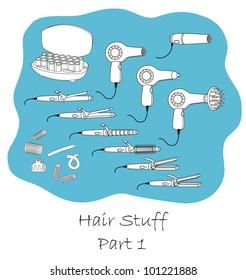 Hairdressing stuff outline set part one