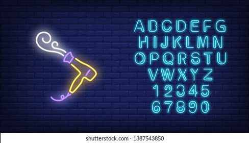 Hairdryer blowing hot air neon sign. Hairdressing salon, style and fashion concept. Advertisement design. Night bright colorful billboard, light banner. Vector illustration in neon style.