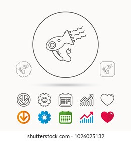 Hairdryer icon. Electronic blowdryer sign. Hairdresser equipment symbol. Calendar, Graph chart and Cogwheel signs. Download and Heart love linear web icons. Vector