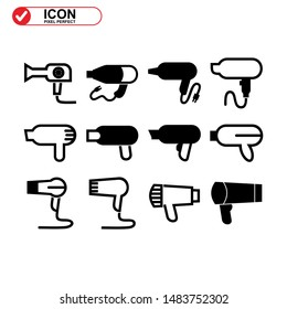 hairdryer icon isolated sign symbol vector illustration - Collection of high quality black style vector icons