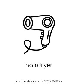 Hairdryer icon. Trendy modern flat linear vector Hairdryer icon on white background from thin line Electronic devices collection, editable outline stroke vector illustration