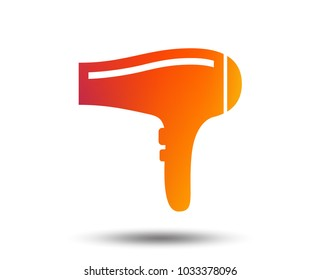 Hairdryer sign icon. Hair drying symbol. Blurred gradient design element. Vivid graphic flat icon. Vector