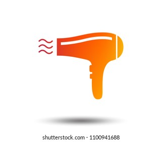 Hairdryer sign icon. Hair drying symbol. Blowing hot air. Turn on. Blurred gradient design element. Vivid graphic flat icon. Vector