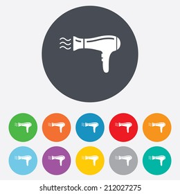 Hairdryer sign icon. Hair drying symbol. Blowing hot air. Turn on. Round colourful 11 buttons. Vector