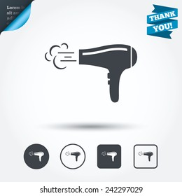 Hairdryer sign icon. Hair drying symbol. Blowing hot air. Turn on. Circle and square buttons. Flat design set. Thank you ribbon. Vector