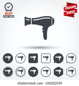 Hairdryer sign icon. Hair drying symbol. Circle, star, speech bubble and square buttons. Award medal with check mark. Thank you ribbon. Vector