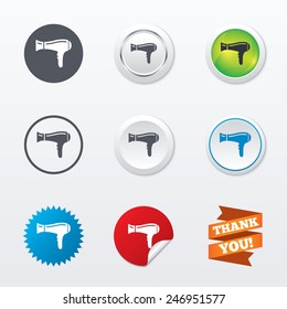 Hairdryer sign icon. Hair drying symbol. Circle concept buttons. Metal edging. Star and label sticker. Vector
