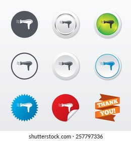 Hairdryer sign icon. Hair drying symbol. Blowing hot air. Turn on. Circle concept buttons. Metal edging. Star and label sticker. Vector