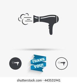 Hairdryer sign icon. Hair drying symbol. Blowing hot air. Turn on. Flat icons. Buttons with icons. Thank you ribbon. Vector