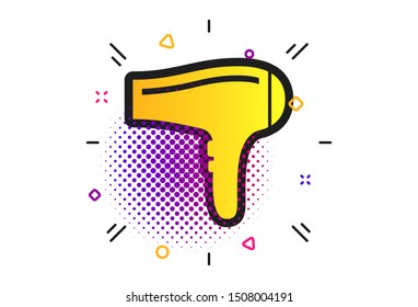 Hairdryer sign icon. Halftone dots pattern. Hair drying symbol. Classic flat hairdryer icon. Vector